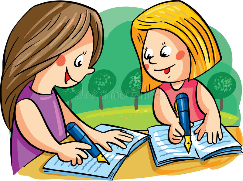 vector illustration with two girls writing stock vector rh dreamstime com girl writing letter clipart girl writing letter clipart