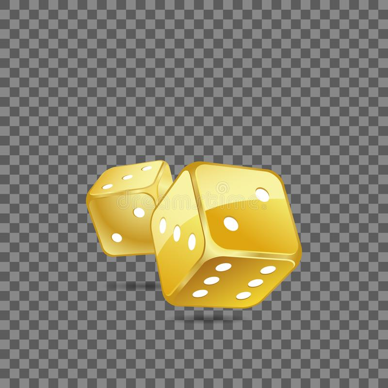 Golden rolling dice. Vector illustration of two golden rolling dice on the transparent background vector illustration