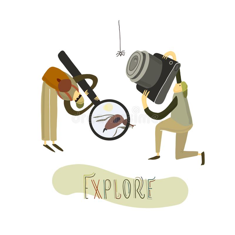 Two guys explore the nature. Hand drawn stylized people. Vector illustration. Vector illustration. Two guys explore the nature. Hand drawn stylized people stock illustration