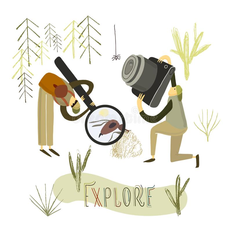 Two guys explore the nature. Hand drawn stylized people. Vector illustration. Two guys explore the nature. Hand drawn stylized people vector illustration