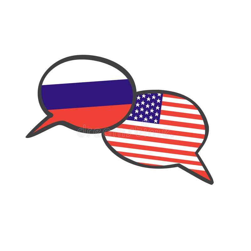 Vector illustration with two hand drawn doodle speech bubbles with national flags of Russia and the USA . vector illustration