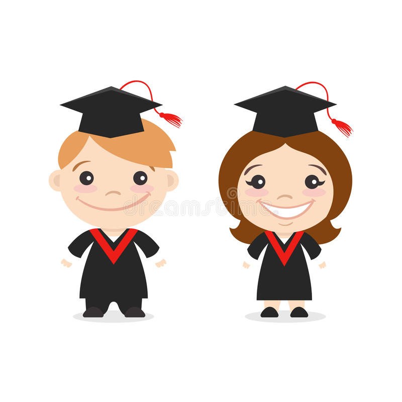 Vector illustration of two happy cute kids characters. stock illustration