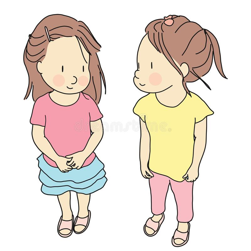 Vector illustration of two kids standing and smiling together. Early childhood development, happy children day, best friend stock illustration