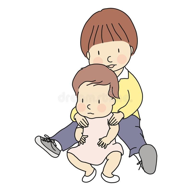 Vector illustration of two little innocent brother and sister sitting together on floor. Family, siblings, brotherhood, friendship. Early childhood development royalty free illustration