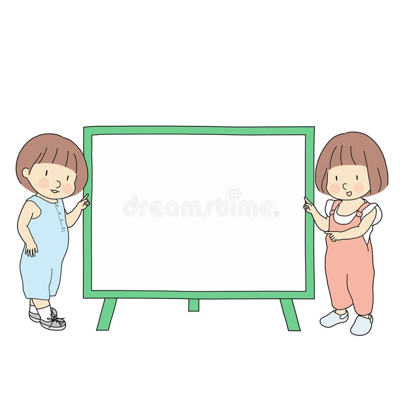 Vector illustration of two little kids, boy and girl, pointing at blank whiteboard for presentation, brochure or banner. Education and learning idea and royalty free illustration