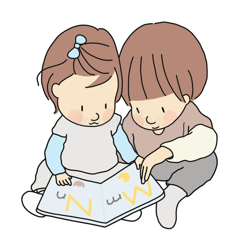 Vector illustration of two little kids, brother and sister, sitting & reading abc alphabet book together. Childhood development. Vector illustration of two stock illustration