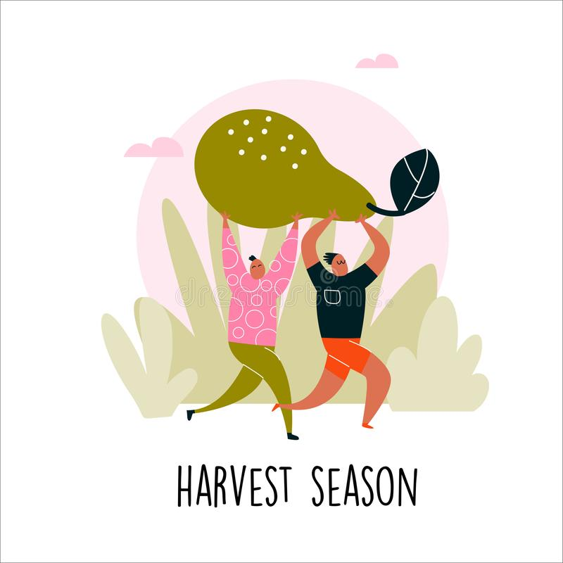 Vector illustration of two man bringing big pear. Harvest season. royalty free illustration