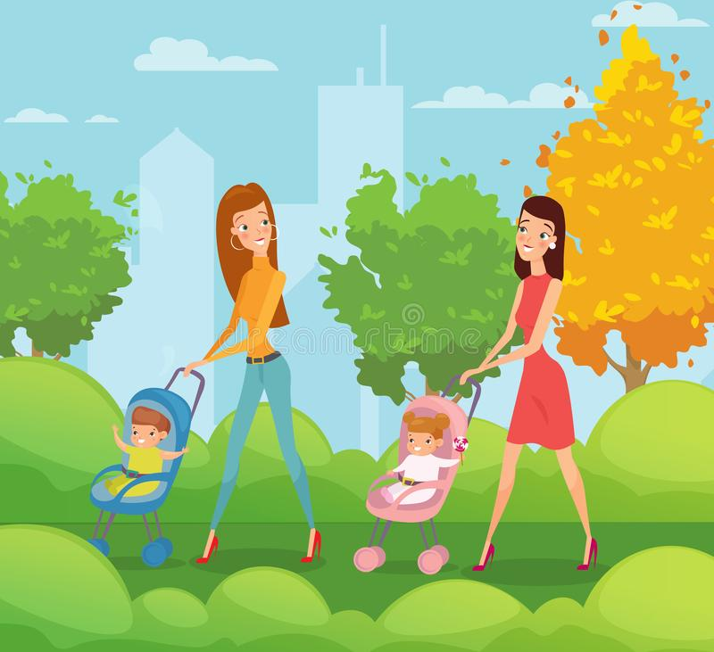 Vector illustration of two mothers with kids walking and talking in the park. Happy friends young women walks around the vector illustration