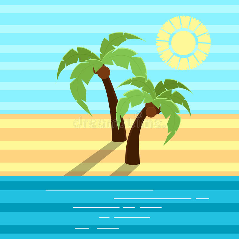 Free Vector Illustration- Two Palms With Shadows On Beach. Royalty Free Stock Image - 93938816