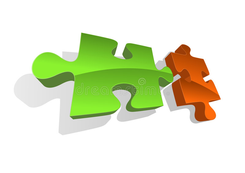 Vector illustration of two puzzle pieces royalty free illustration