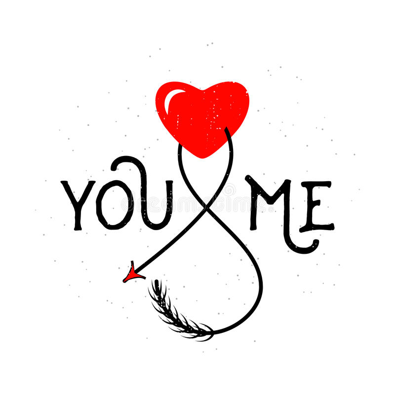 Vector illustration of typography text sign you and me with heart royalty free illustration