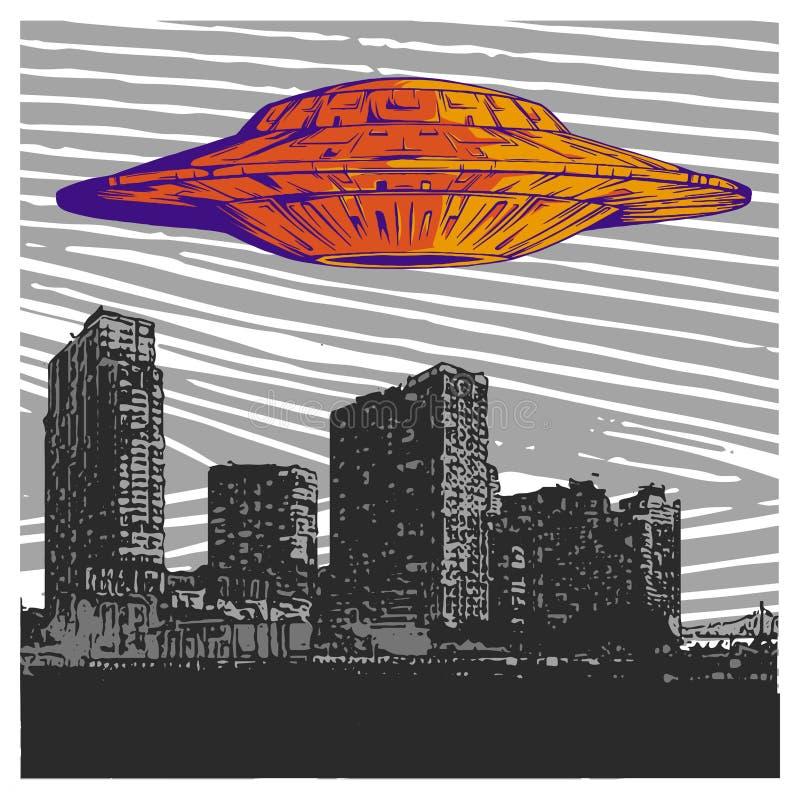 Vector Illustration UFO mit hellem Fliegen über Stadt nachts vektor abbildung