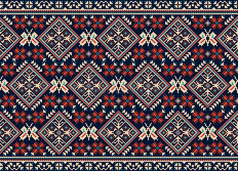Vector illustration of Ukrainian folk seamless pattern ornament. Ethnic ornament. Border element. Traditional Ukrainian, Belarusian folk art knitted embroidery vector illustration