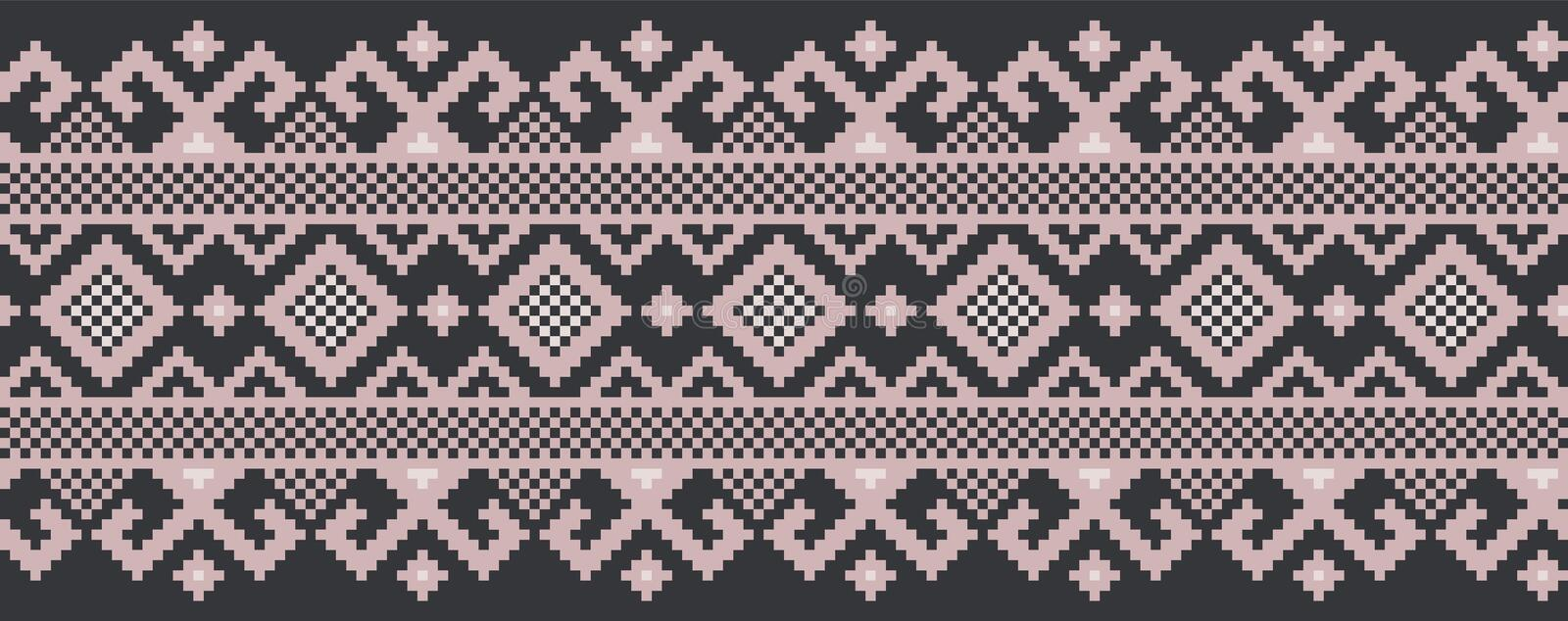Vector illustration of Ukrainian folk seamless pattern ornament. Ethnic ornament. Border element. Traditional Ukrainian. Belarusian folk art knitted embroidery vector illustration