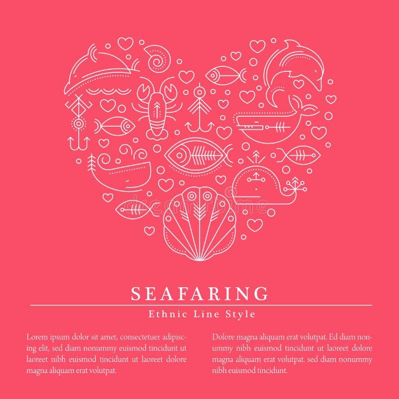 Vector Illustration umrissene Zeichen von Meerestieren, Herz vektor abbildung
