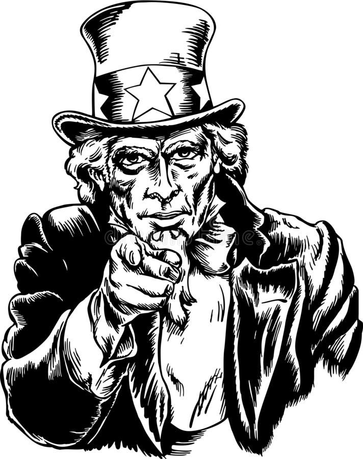 Uncle Sam Vector Illustration. A vector illustration of Uncle Sam pointing his finger at you stock illustration