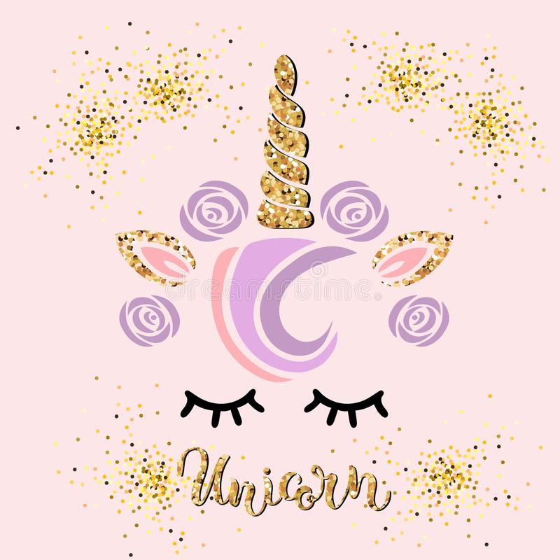 Vector illustration with Unicorn and Handwritten lettering Unicorn vector illustration