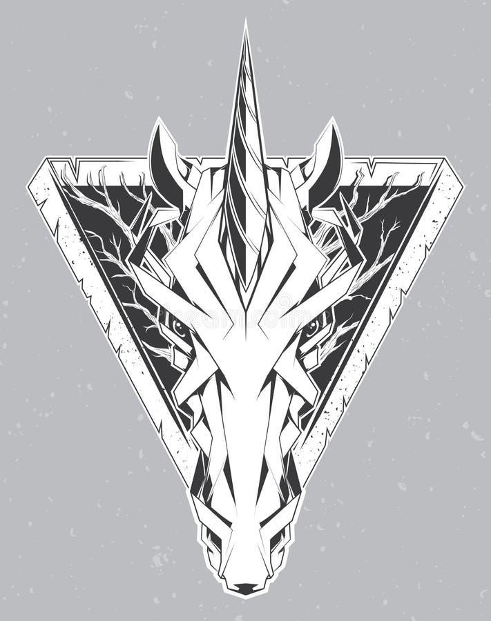 Vector illustration with unicorn head. royalty free illustration