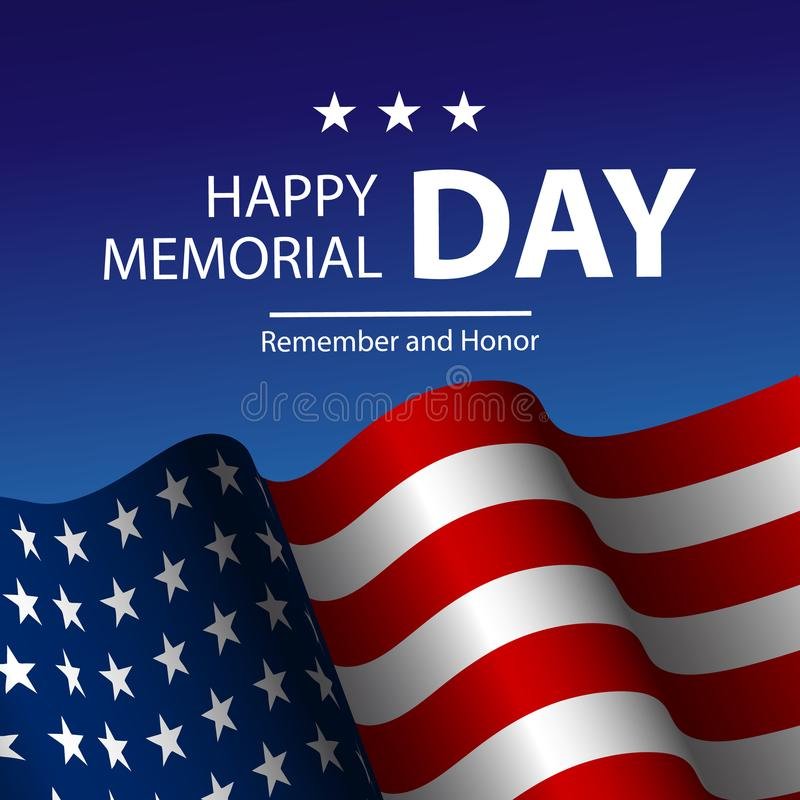 Vector illustration of United States of America realistic flag and Text Memorial Day. On American flag background vector illustration