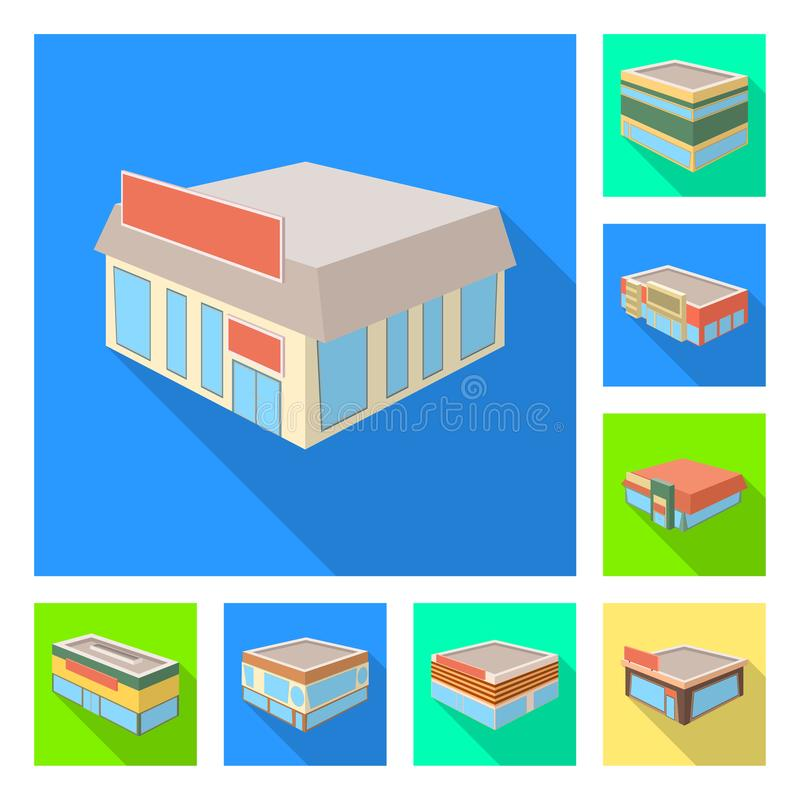 Vector illustration of and urban icon. Collection of and house stock vector illustration. Isolated object of and urban symbol. Set of and house vector icon for vector illustration