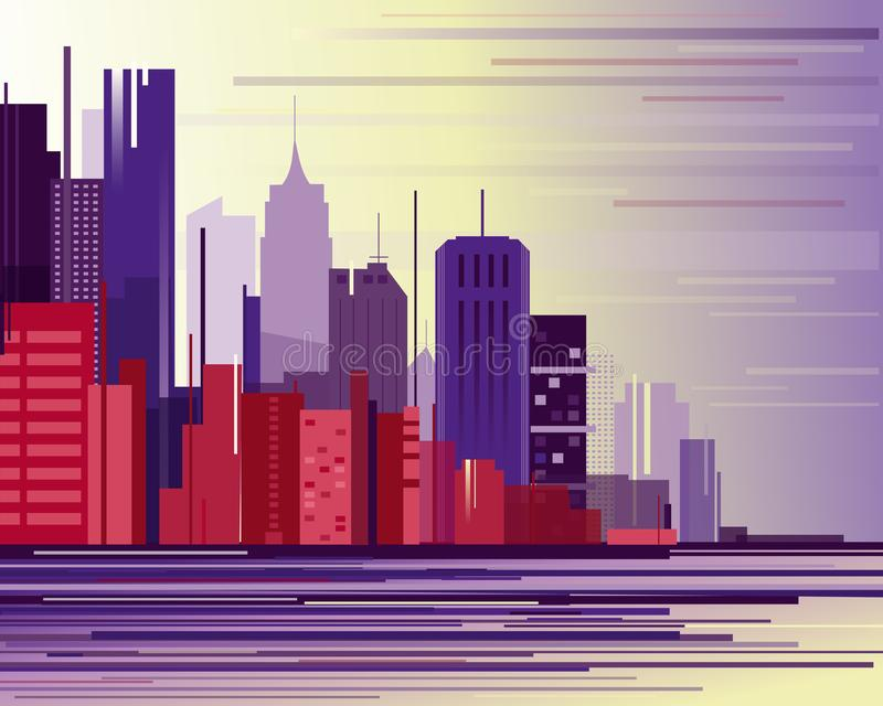 Vector illustration of urban industrial city landscape. Big modern city with skyscrapers in abstraction flat cartoon. Style vector illustration