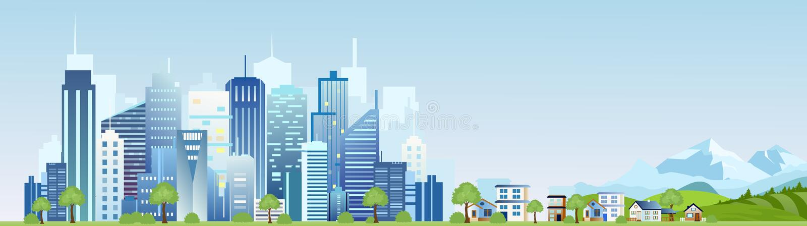 Vector illustration of urban industrial city landscape. Big modern city with skyscrapers with mountains and country. Houses in flat cartoon style vector illustration
