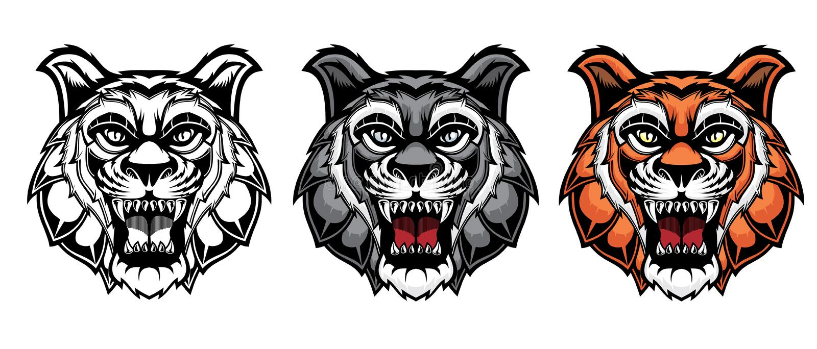 Set of growling tiger heads royalty free illustration
