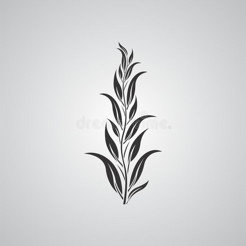Black and white plant leaves motif vector design illustration royalty free stock images