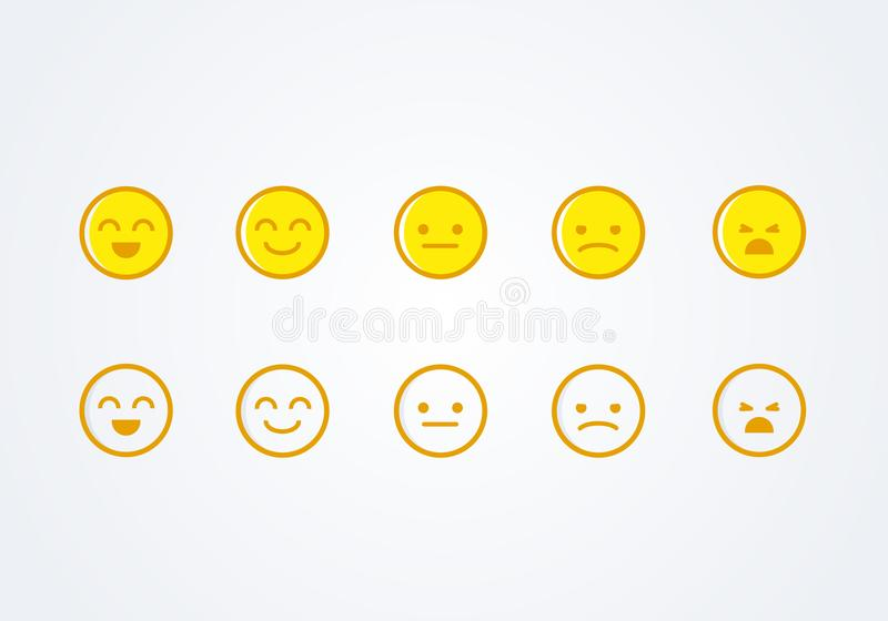 Vector illustration user experience feedback concept different mood smiley emoticons emoji icon positive, neutral and negative. Vector illustration user vector illustration
