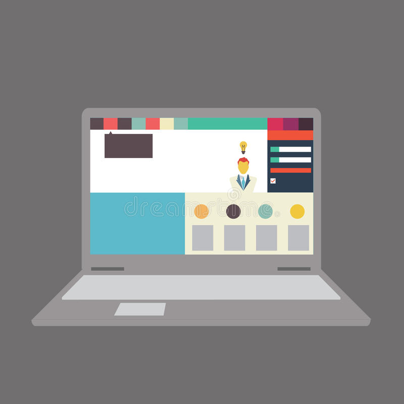 Vector illustration of user interface on laptop/notebook royalty free illustration