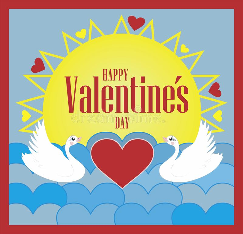 Vector illustration for Valentine`s Day in english text. stock illustration