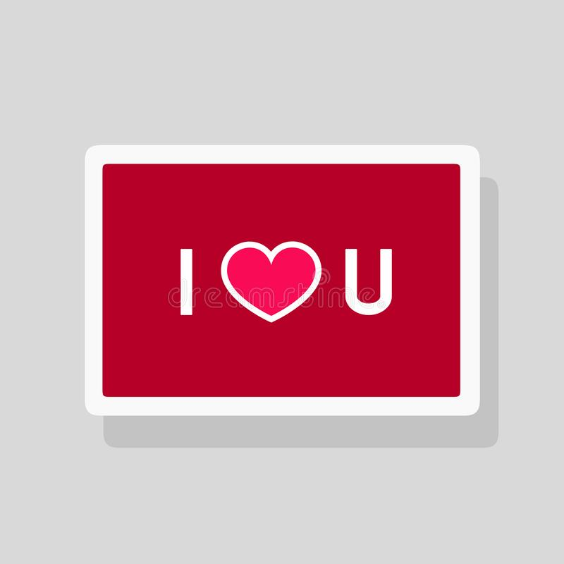 Valentine`s Day greeting card I Love You with abbreviated text and heart shape. Minimalist design vector illustration