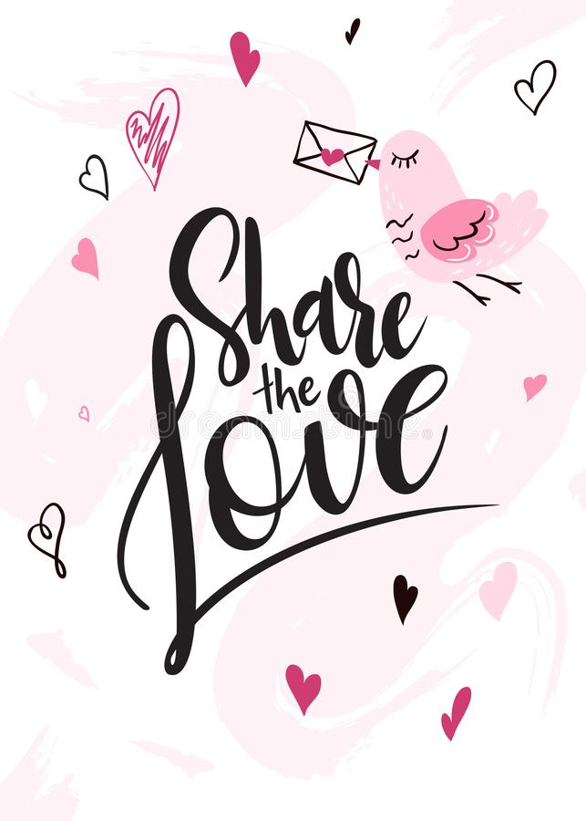 Vector illustration of valentine`s day greetings card with hand lettering label - share the love - with doodle hearts vector illustration