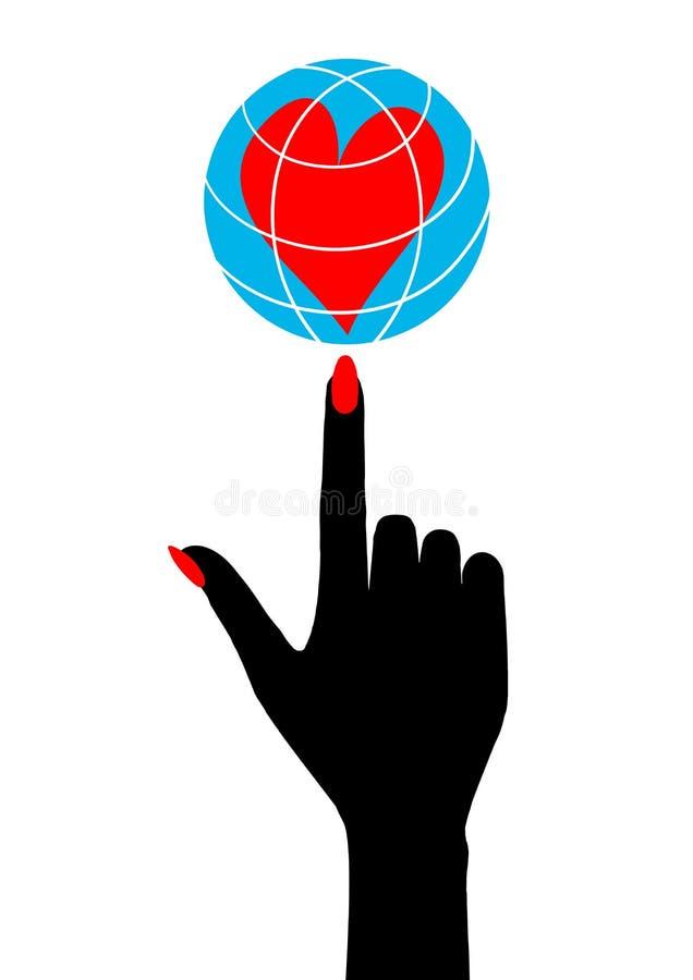 Vector illustration for Valentine`s day hand holding on your finger globe with heart inside. stock illustration