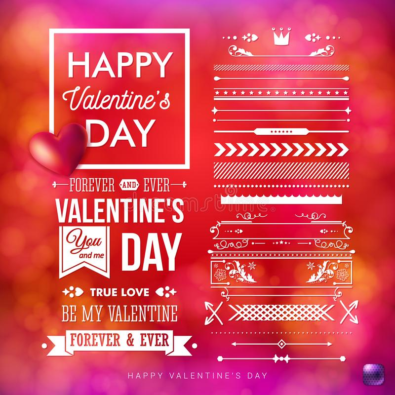 Vector illustration of Valentines day card template and a set of vintage style design elements. stock illustration