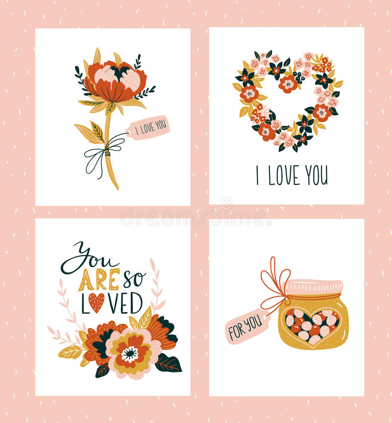 Vector illustration. Valentines day greeting cards templates with love lettering, hearts, flowers, candies and plant wreath. Romantic backgrounds vector illustration