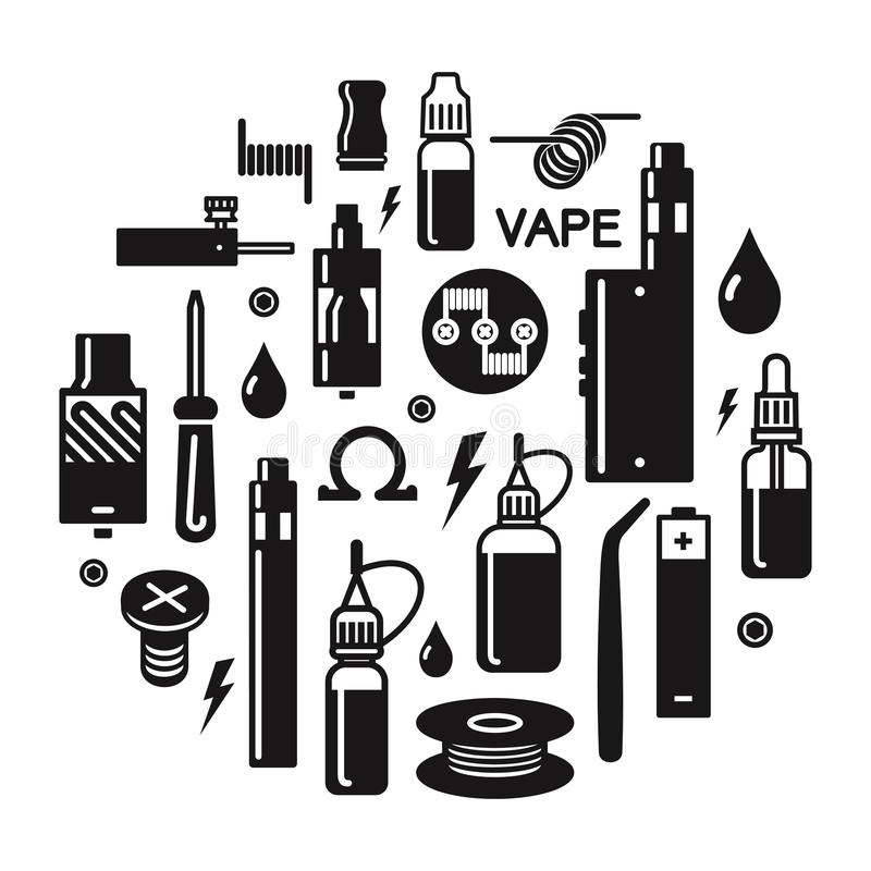 vector illustration of vape and accessories stock vector