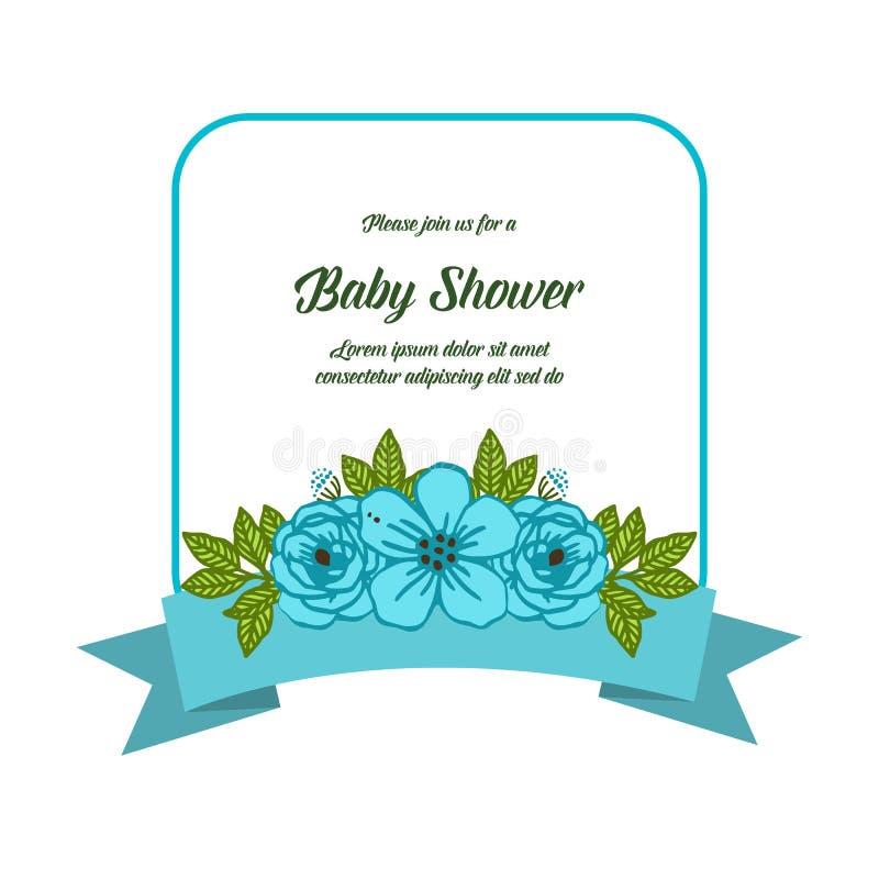 Vector illustration various blue flower frames blooms for baby shower stock photo