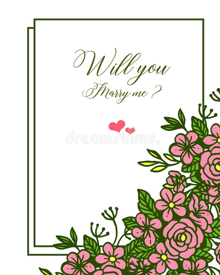 Vector illustration various crowd pink rose flower frame for template will you marry me. Hand drawn vector illustration