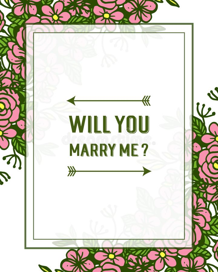 Vector illustration various crowd pink rose flower frame for template will you marry me. Hand drawn stock illustration