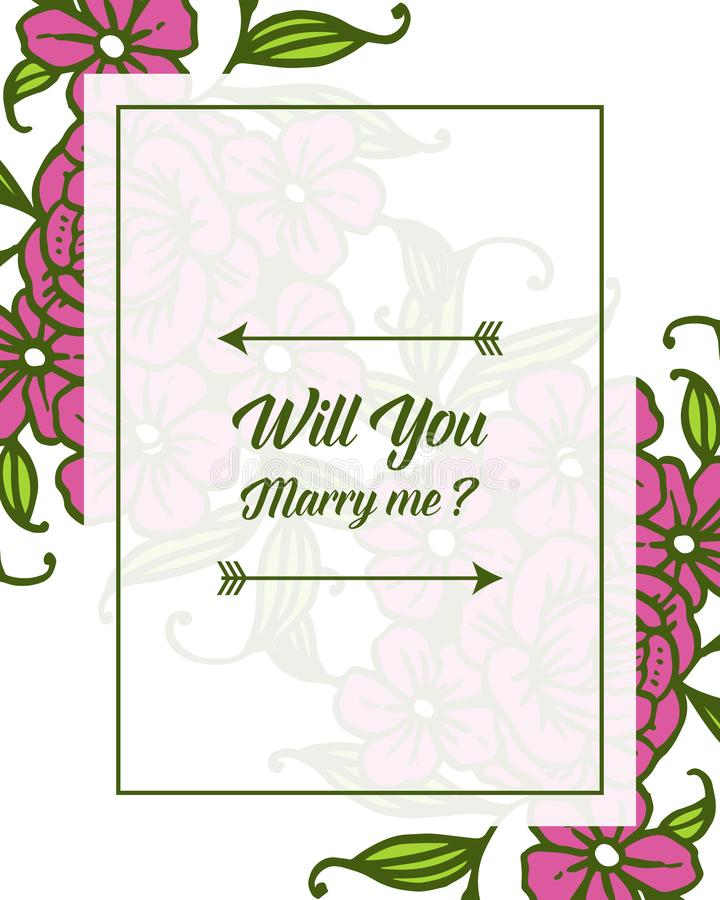 Vector illustration various pattern purple bouqet frame for template will you marry me. Hand drawn stock illustration