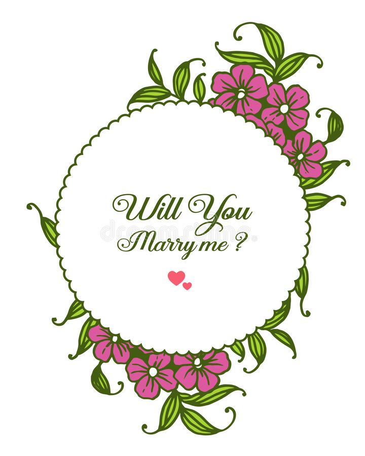 Vector illustration various pattern purple bouqet frame for template will you marry me. Hand drawn vector illustration