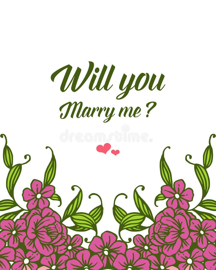 Vector illustration various pattern purple bouqet frame for template will you marry me. Hand drawn royalty free illustration
