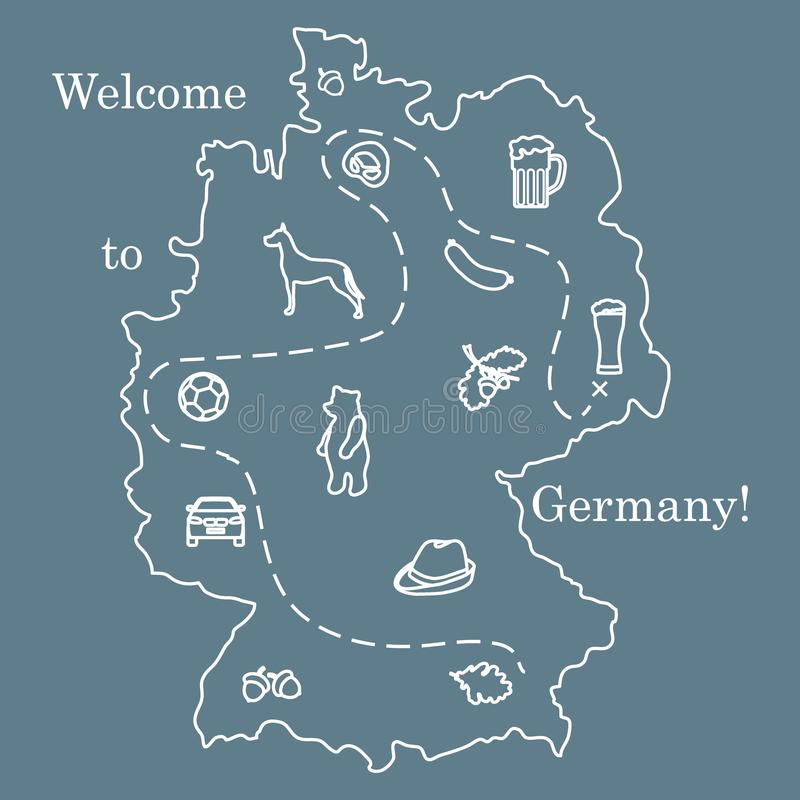 Vector illustration with various symbols of Germany. Travel and leisure. Design for banner, poster or print. Vector. Vector illustration with various symbols of royalty free illustration