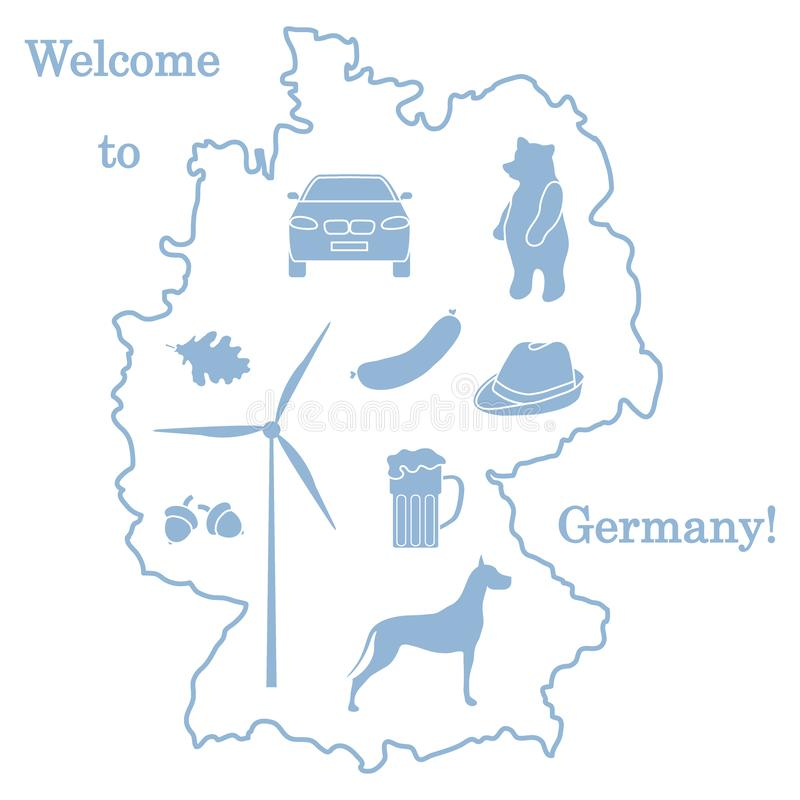 Vector illustration with various symbols of Germany. Travel and leisure. Design for banner, poster or print. Vector. Vector illustration with various symbols of stock illustration