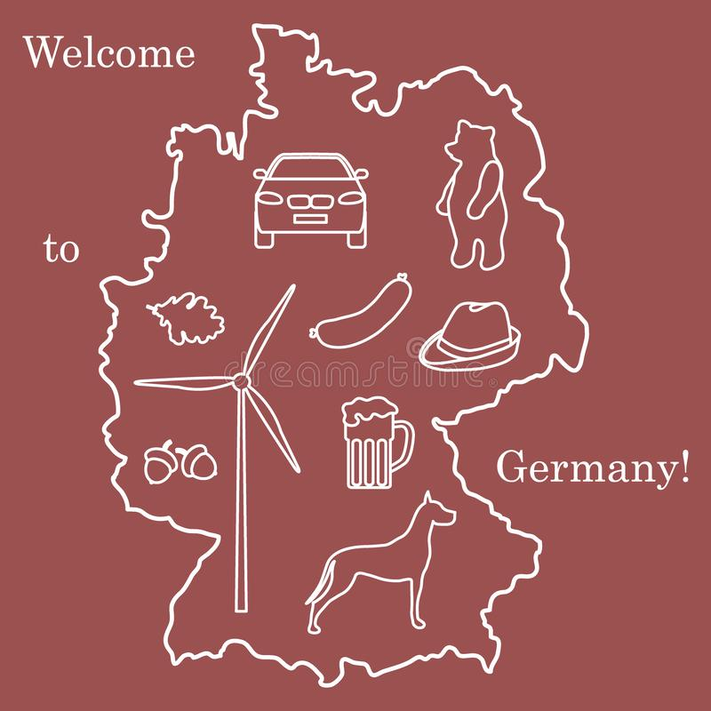 Vector illustration with various symbols of Germany. Travel and leisure. Design for banner, poster or print. Vector. Vector illustration with various symbols of vector illustration
