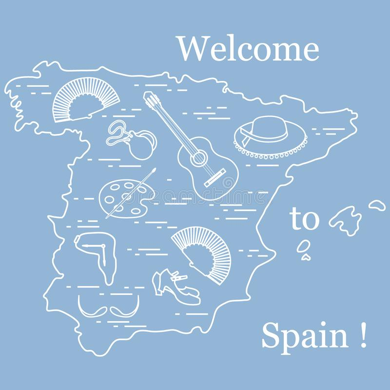 Vector illustration with various symbols of Spain arranged in a circle. Travel and leisure. Design for banner, poster or print. Vector. Vector illustration with stock illustration