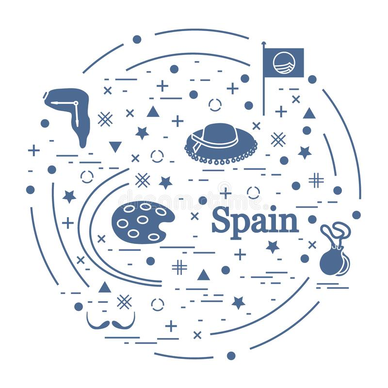 Vector illustration with various symbols of Spain arranged in a circle. Travel and leisure. Design for banner, poster or print. Vector. Vector illustration with vector illustration