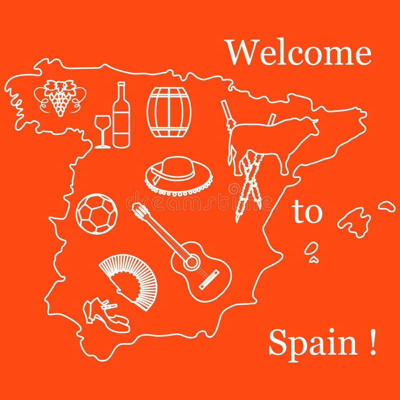 Vector Illustration With Various Symbols Of Spain Travel And Le