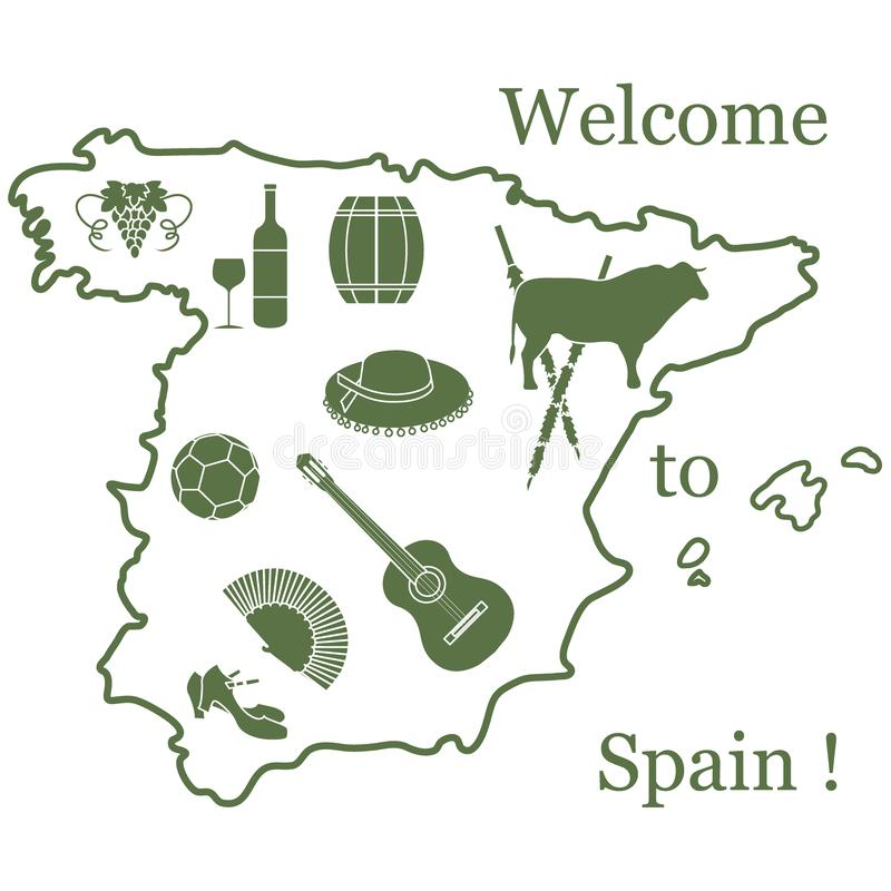 Vector illustration with various symbols of Spain. Travel and leisure. Design for banner, poster or print. Vector. Vector illustration with various symbols of royalty free illustration